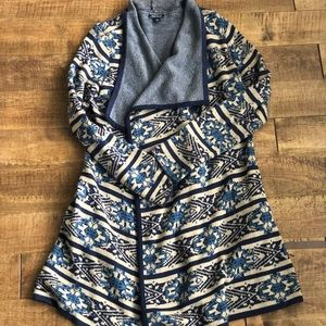 Lucky Brand Wrap Front Sweater Navy Aztec Print